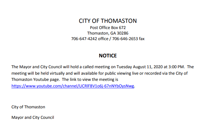 Mayor and City Council Meeting Aug 11, 2020