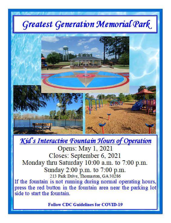 Kids Interactive Fountain Hours of Operation Flyer 2021