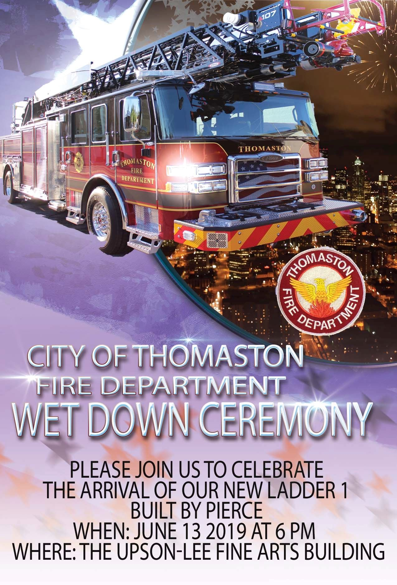 Invitation for Thomaston Fire Department Wet Down Ceremony Flyer 2019