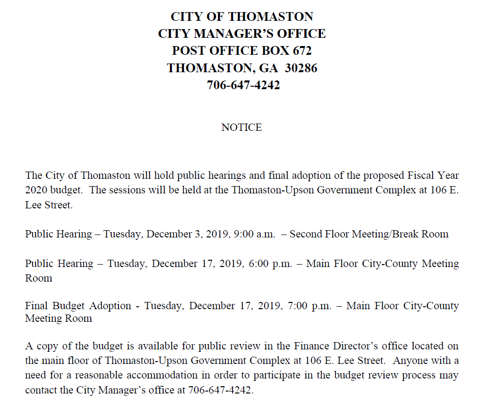2020 FY Budget Meeting Notice